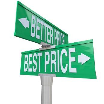 A green two-way street sign pointing to Better Price and Best Price
